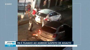 PM é filmado ao agredir suspeito de assalto - Caso ocorreu na Compensa, em Manaus, após suspeito ser detido