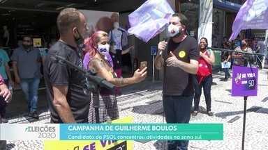 Guilherme Boulos fez campanha na zona sul - O candidato do PSOL falou que vai aumentar o número de restaurantes populares na periferia.
