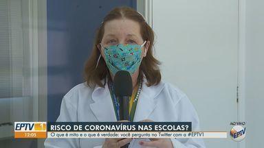 Especialista esclarece dúvidas sobre volta das crianças à escola na pandemia - Médica ressalta a importância do distanciamento durante o intervalo e de troca diária da máscara.