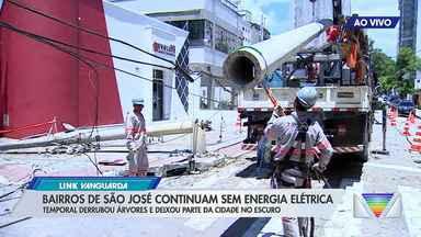 Bairros de São José continuam sem energia elétrica - Temporal derrubou árvores e deixou parte da cidade no escuro.