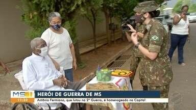 Veterano da 2° Guerra completa 98 anos e é homenageado em Campo Grande - Antônio Fermiano fez parte do grupo de que saio de MS para lutar na Itália