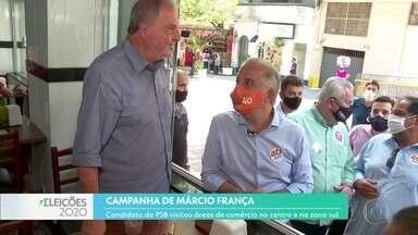 Márcio França visitou áreas de comércio no centro e na zona sul - O candidato falou ainda em transformar o Minhocão em túnel.