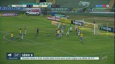 Guarani vence o Avaí, amplia série invicta para quatro jogos e se afasta do Z-4 - Junior Todinho e Romércio fizeram gols do Bugre, e Alan Costa descontou para o Leão.