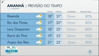 Terça-feira será de tempo chuvoso nas cidades da região - Apesar das chuvas, temperaturas seguem altas passando dos 30 graus.