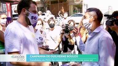 Guillherme Boulos fez campanha no centro e na zona sul - Candidato do PSOL voltou a falar sobre desapropriação de imóveis para transformar em habitações populares.