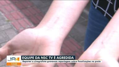 Equipe da NSC TV é agredida em Florianópolis durante reportagem - Equipe da NSC TV é agredida em Florianópolis durante reportagem