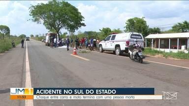 Choque entre carro e moto deixa com uma pessoa morta - O acidente foi registrado no sul do Maranhão.