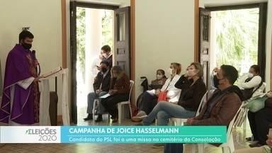 Agenda dos candidatos à prefeitura de SP neste feriado - Joice Hasselmann, do PSL, foi a uma missa no cemitério da Consolação.
