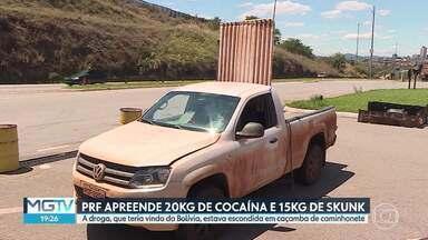 Homem é preso transportando cocaína e skunk, na BR-262 - A apreensão foi em Betim. A droga estava no fundo falso de uma caçamba de caminhonete.