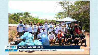 Voluntários recolhem lixo na Flona em Barbalha - Confira mais notícias em g1.globo.com/ce