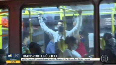 Governo de Minas flexibiliza regras do transporte coletivo, após 8 meses - Bom Dia Minas mostrou ônibus lotados e aglomeração nas estações durante a pandemia.