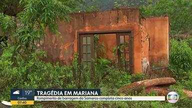 Rompimento de barragem da Samarco, em Mariana, completa cinco anos - Tragédia deixou 19 mortos e um dano ambiental incalculável.