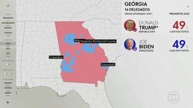 Atenção do mundo se volta para a contagem dos votos na eleição americana - Contagem dos votos que vão decidir quem vai governar os Estados Unidos nos próximos quatro anos continua. O estado da Geórgia é o onde a eleição está mais tensa.