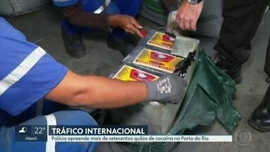 Polícia faz uma das maiores apreensões de cocaína no Porto do Rio - Até o momento foram apreendidos setecentos e cinquenta quilos da droga, pura. A cocaína estava escondida em sacos de minério de ferro.