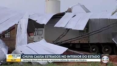 Chuva causa estragos no interior de São Paulo - Em Glicério, ventania arrancou telhas de um galpão. Em Campinas, duas árvores caíram.