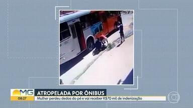 Mulher que perdeu dedos do pé depois de ser atropelada por ônibus vai ser indenizada - Acidente foi registrado por câmeras de segurança.