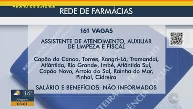 Rede de farmácias oferece 161 vagas de emprego no Litoral gaúcho - Assista ao vídeo.