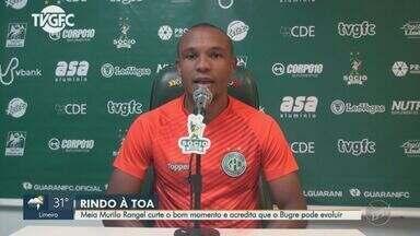Murilo Rangel fala sobre boa fase e crê em mais evolução do Guarani - Meia marcou duas vezes no empate em 3 a 3 com o Cruzeiro na última segunda-feira (9).