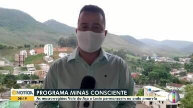 Minas Consciente: Macrorregiões Leste e Vale do Aço permanecem na onda amarela - Veja a situação da Covid-19 na região.