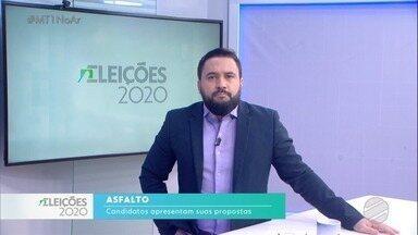 Candidatos à prefeitura de Cuiabá falam sobre propostas de asfalto - Candidatos à prefeitura de Cuiabá falam sobre propostas de asfalto.