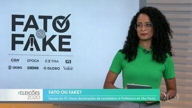 Veja o que é fato, e o que é fake nas declarações dos candidatos à Prefeitura de São Paulo - G1 checa frases ditas pelos quatro candidatos mais bem colocados na última pesquisa de intenção de voto.