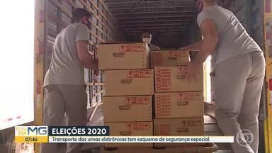 Eleições 2020: transporte das urnas eletrônicas acontece até sábado - Antes de seguirem para os locais de votação, os equipamentos ficam sob a guarda da Polícia Militar.
