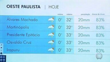Terça-feira tem instabilidade no Oeste Paulista - Confira a previsão do tempo para a região.
