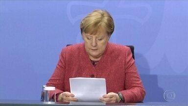 Angela Merkel diz que está preocupada com a pandemia de Covid-19 na Alemanha - Na Europa, a primeira-ministra da Alemanha, Angela Merkel, disse nesta terça-feira (17) que está muito preocupada com a pandemia na Alemanha. Ela pede prudência.