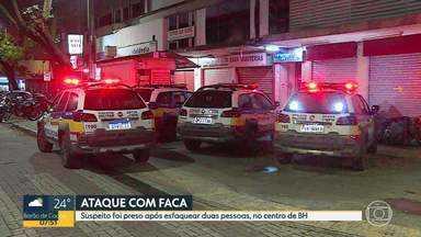 Homem foi preso após esfaquear duas pessoas no Centro de Belo Horizonte - Segundo Polícia Militar, homem estava confuso e disse que escolheu vítimas de forma aleatória.