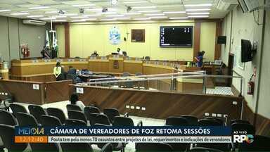 Sessões na Câmara de Vereadores são retomadas em Foz do Iguaçu - Pauta tem pelo menos 70 assuntos entre projetos de lei, requerimentos e indicações de vereadores.
