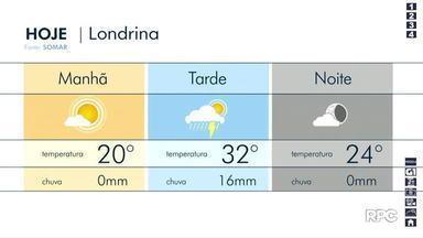 Quarta-feira (18) deve ser chuvosa, em Londrina - A previsão é de que chova 36mm, na cidade.