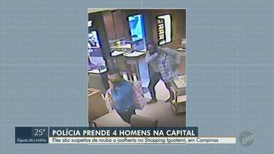 Suspeitos de roubar uma joalheira em shopping de Campinas são presos em São Paulo - Assalto ocorreu na tarde da última sexta-feira (13) quando três homens entraram na loja e levaram joias e relógios.
