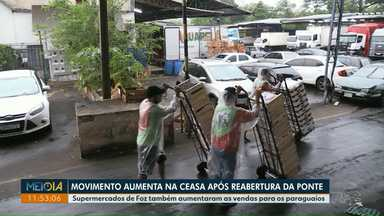 Movimento aumenta na Ceasa após a reabertura da Ponte da Amizade - Supermercados de Foz também aumentaram as vendas para os paraguaios.
