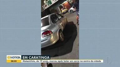 Motociclista morre em acidente no Centro de Caratinga - Jovem de 19 anos chegou a ser socorrido, mas não resistiu.