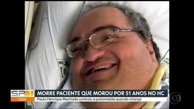 Morre paciente que morou por 51 anos no Hospital das Clínicas em SP - Paulo Henrique Machado contraiu a poliomielite quando criança