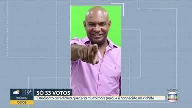 Candidato reclama que só teve 33 votos - Candidato acreditava que teria muito mais porque é conhecido na cidade.