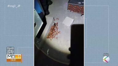 Homem é flagrado furtando peças de cobre na obra do Hospital Regional em Juiz de Fora - Ele foi encontrado pela Guarda Municipal na sala de máquinas de lavar.