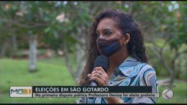 Professora Denise, do PV, é eleita prefeita de São Gotardo - Ela teve 52,29% dos votos dados a todos os candidatos e derrotou Gilberto Ganga, que ficou em segundo lugar com 37,60%.