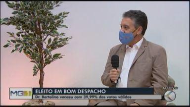 Doutor Bertolino, do Avante, é eleito prefeito de Bom Despacho - Ele teve 39,99% dos votos dados a todos os candidatos e derrotou Joice Quirino, que ficou em segundo lugar com 37,55%.