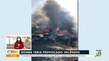 Crianças teriam causado fogo que queimou motos em Caririaçu - Saiba mais no g1.com.br/ce