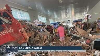 Caminhão desgovernado invade supermercado e deixa dez pessoas feridas em Juruaia - Caminhão desgovernado invade supermercado e deixa dez pessoas feridas em Juruaia