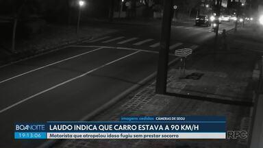 Laudo indica que carro que atrelou idoso em Curitiba estava a 90km/h - Motorista que atropelou idoso fugiu sem prestar socorro.