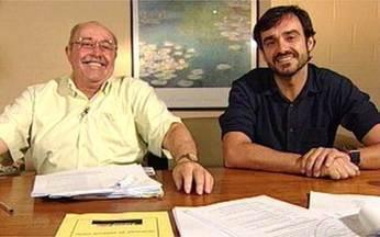 Rodrigo e Mauro Mendonça se encontram nos bastidores - O Video Show promove bate-papo entre pai e filho nos intervalos das gravações de A Favorita.