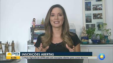 Colégio Agrícula da UFPB oferece inscrições para cursos técnicos, na Paraíba - Saiba como se inscrever