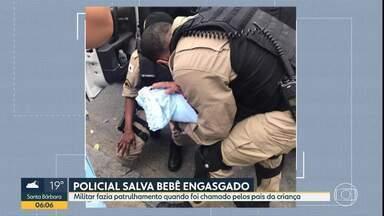 Policial Militar salva bebê que se engasgou, no Centro de Belo Horizonte - Militar fazia patrulhamento na região quando foi chamado pelos pais do recém-nascido.