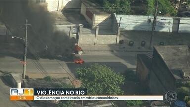 Comunidades do Rio registram tiroteios durante a manhã - Tiroteios foram registrados na Cidade Alta, Chapadão e Penha. Na Cidade de Deus a PM reforçou a segurança após ameaças de invasão de milícias.
