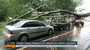 Chuva causa estragos em cidades do oeste e sudoeste - Ventos derrubaram árvores e destelharam imóveis. Em Sulina teve granizo.