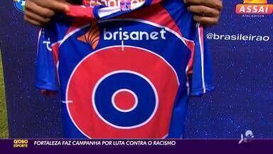 Fortaleza faz campanha por luta contra racismo e atletas negros usam alvos em camisa - Fortaleza faz campanha por luta contra racismo e atletas negros usam alvos em camisa
