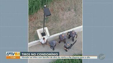 Homem é detido por fazer disparos para o alto em sacada de prédio de Campinas - Rapaz disse à polícia que ficou incomodado porque o morador do apartamento próximo ao dele fazia 'barulhos pulando no chão e perturbou seu sossego'.
