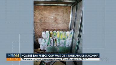 Suspeitos são presos com 1 t de maconha - Prisão aconteceu na rodovia PR317.